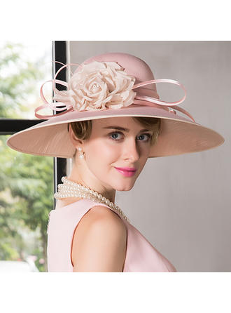 Net Yarn With Silk Flower Bowler/Cloche Hat Eye-catching Ladies' Hats