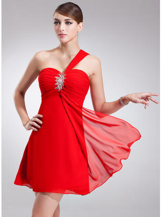 Empire One-Shoulder Short/Mini Chiffon Homecoming Dresses With Ruffle Beading