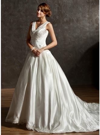 Simple Satin Wedding Dresses With Regular Straps Embroidered Beading Sequins