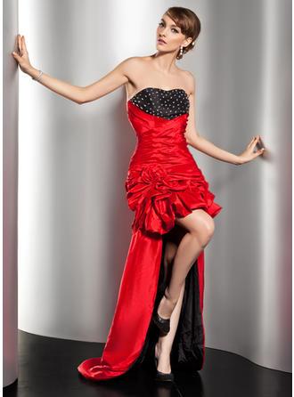 A-Line/Princess Sweetheart Asymmetrical Taffeta Prom Dress With Ruffle Beading