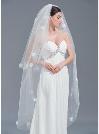 Two-tier Cut Edge Waltz Bridal Veils With Satin Flower