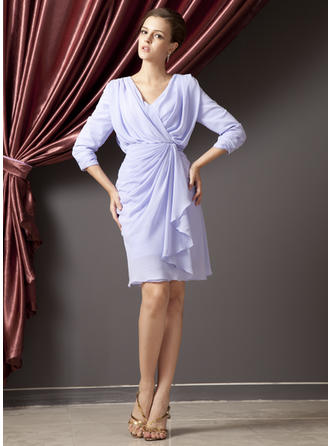Chiffon 3/4 Sleeves Mother of the Bride Dresses V-neck Sheath/Column Cascading Ruffles Knee-Length