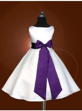 Scoop Neck A-Line/Princess Flower Girl Dresses Satin Sash/Bow(s) Sleeveless Tea-length