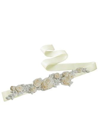 Women Satin With Flower Sash Elegant Sashes & Belts