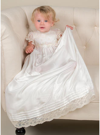 Scoop Neck A-Line/Princess Flower Girl Dresses Tulle/Lace Flower(s) Short Sleeves Watteau Train