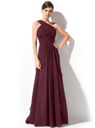 A-Line/Princess One-Shoulder Floor-Length Evening Dresses With Cascading Ruffles