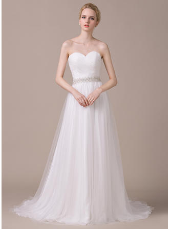 Glamorous Court Train A-Line/Princess Wedding Dresses Sweetheart Tulle Sleeveless