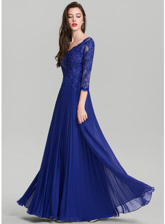 A-Line/Princess V-neck Floor-Length Chiffon Evening Dress With Pleated