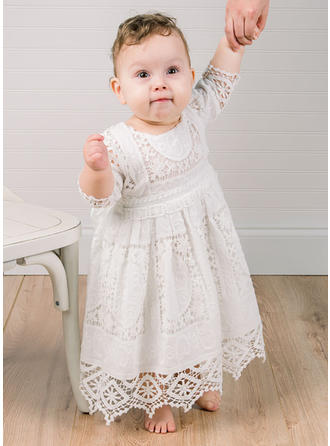 Lace Scoop Neck Baby Girl's Christening Gowns With 3/4 Sleeves