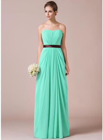 Sheath/Column Sweetheart Floor-Length Chiffon Bridesmaid Dress With Ruffle Sash