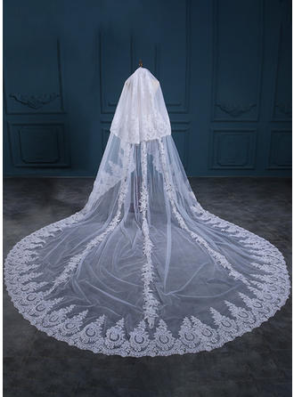Two-tier Lace Applique Edge Cathedral Bridal Veils With Applique