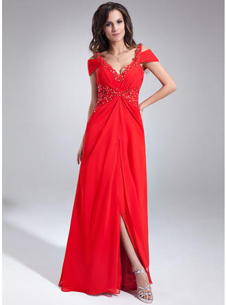 A-Line/Princess V-neck Floor-Length Evening Dress With Ruffle Beading Appliques Lace