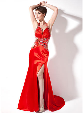 Trumpet/Mermaid Sweetheart Watteau Train Evening Dresses With Ruffle Beading Split Front