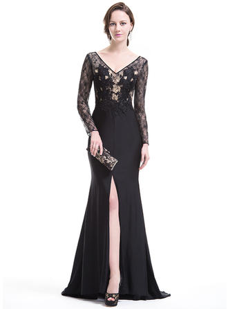 Trumpet/Mermaid V-neck Lace Jersey Long Sleeves Sweep Train Split Front Evening Dresses