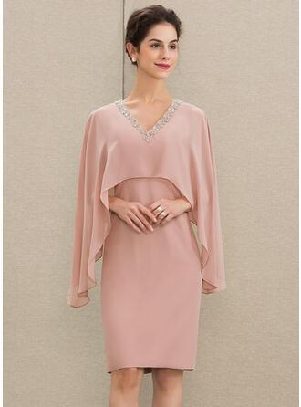 Sheath/Column V-neck Knee-Length Chiffon Mother of the Bride Dress With Beading