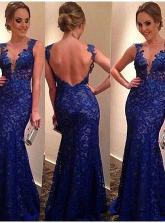 Lace Sleeveless Trumpet/Mermaid Prom Dresses V-neck Appliques Lace Floor-Length