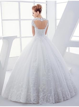 Ball-Gown Tulle Short Sleeves Square Floor-Length Wedding Dresses