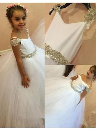 Ball Gown/Ball Gown Scalloped Neck Floor-length With Beading Satin/Tulle Flower Girl Dress