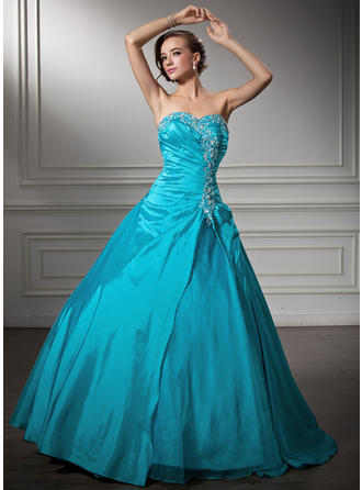 Ball-Gown Sweetheart Floor-Length Taffeta Prom Dress With Ruffle Beading Sequins