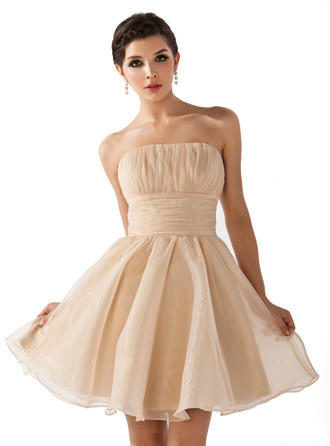 Simple Organza Sleeveless Strapless Ruffle Homecoming Dresses
