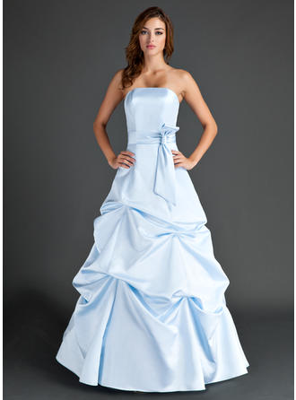 Satin Sleeveless A-Line/Princess Bridesmaid Dresses Strapless Ruffle Floor-Length