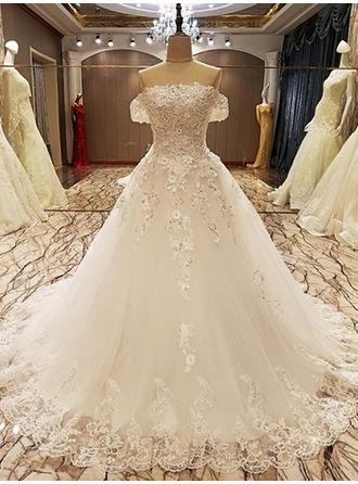 Ball-Gown Off-The-Shoulder Court Train Wedding Dress With Beading Appliques Lace Sequins Bow(s)
