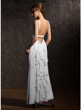 A-Line/Princess V-neck Ankle-Length Evening Dresses With Beading Cascading Ruffles