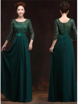 A-Line/Princess Chiffon Bridesmaid Dresses Scoop Neck 1/2 Sleeves Floor-Length