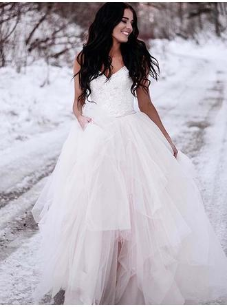 Fashion Tulle Wedding Dresses Ball-Gown Sweep Train V-neck Sleeveless