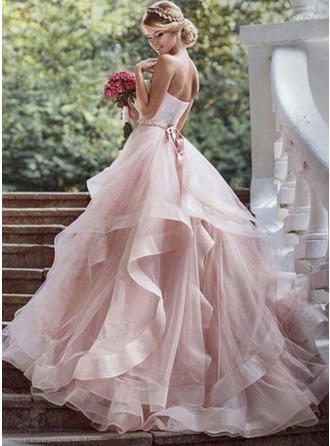 Organza Court Train Beading Cascading Ruffles With Strapless Wedding Dresses