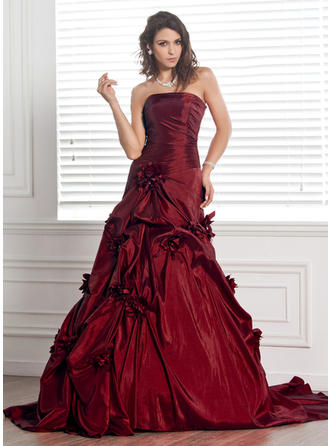 Glamorous Court Train Ball-Gown Wedding Dresses Strapless Taffeta Sleeveless