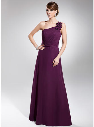 A-Line/Princess One-Shoulder Chiffon Sleeveless Floor-Length Ruffle Evening Dresses