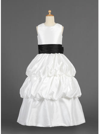 A-Line/Princess Scoop Neck Floor-length With Sash/Flower(s)/Bow(s)/Pick Up Skirt Taffeta Flower Girl Dress