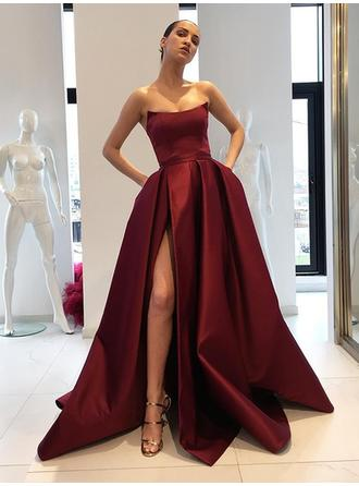 Glamorous Satin Evening Dresses Ball-Gown Sweep Train Strapless Sleeveless