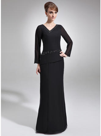 Beading V-neck Gorgeous Chiffon Mother of the Bride Dresses