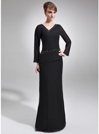 Sheath/Column V-neck Chiffon Long Sleeves Floor-Length Beading Mother of the Bride Dresses
