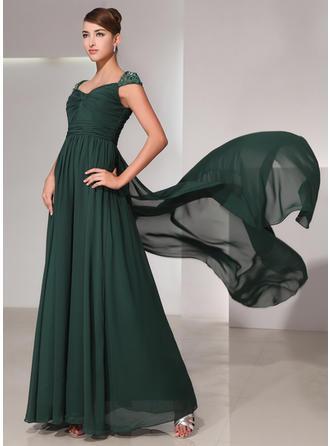 A-Line/Princess Sweetheart Watteau Train Chiffon Prom Dress With Ruffle Lace Beading