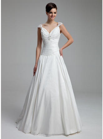 A-Line/Princess V-neck Floor-Length Taffeta Wedding Dress With Ruffle Beading Appliques Lace