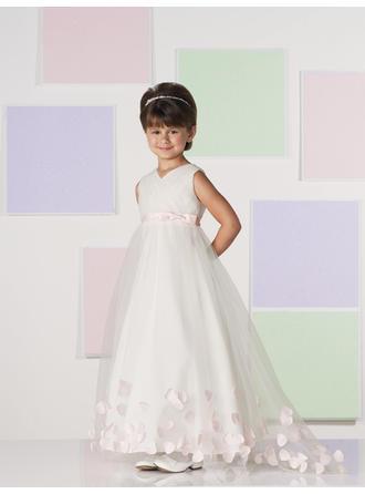 A-لاين أميرة V عنق الطول الأرضي مع كشكش/زين/أقواس قماش رقيق شفاف فستان فتاة الزهور