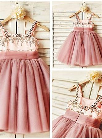 Square Neckline A-Line/Princess Flower Girl Dresses Tulle Beading Sleeveless Knee-length