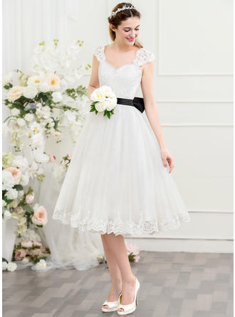 Sweetheart A-Line/Princess Wedding Dresses Tulle Ruffle Bow(s) Sleeveless Knee-Length