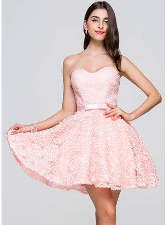 Chic Lace Prom Dresses A-Line/Princess Short/Mini Sweetheart Sleeveless