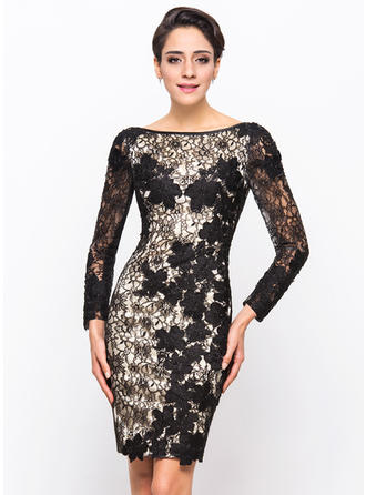 Sheath/Column Lace Cocktail Dresses Scoop Neck Long Sleeves Knee-Length