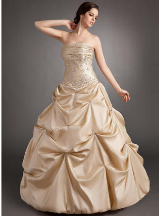 Ball-Gown Strapless Floor-Length Taffeta Prom Dress With Ruffle Beading Appliques Lace