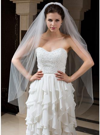 Velos de novia vals Tul Dos capas Estilo clásico con Corte de borde Velos de novia