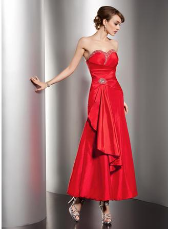 A-Line/Princess Sweetheart Ankle-Length Taffeta Prom Dress With Beading Cascading Ruffles