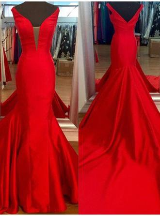 Satin Sleeveless Trumpet/Mermaid Prom Dresses V-neck Sweep Train