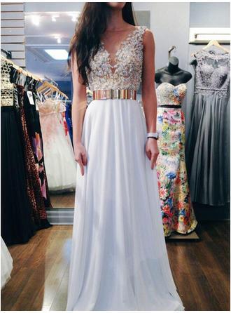 A-Line/Princess V-neck Sweep Train Chiffon Prom Dress With Lace Beading