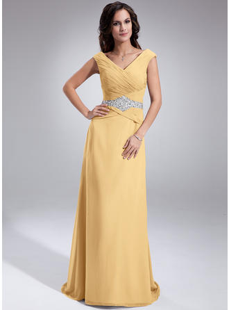 A-Line/Princess Chiffon Sleeveless Off-the-Shoulder Sweep Train Zipper Up Mother of the Bride Dresses