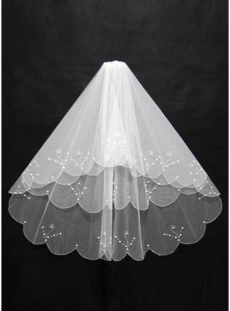 Ellenbogen Braut Schleier Tüll Dreischichtig Klassische Art mit Schnittkante Brautschleier